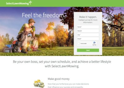 Select lawn Mowing Franchise landing page