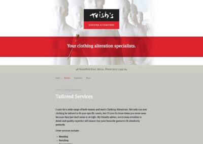 Trish's Clothing Alterations website